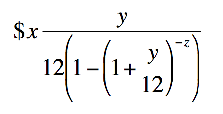 Mortgage formula.