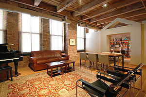 The interior of a loft condominium at 400 Sout...