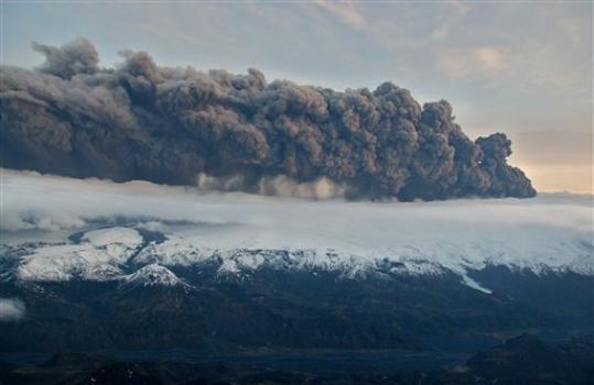 Volcanic ash near the Eyjafjallajokull glacier in Iceland