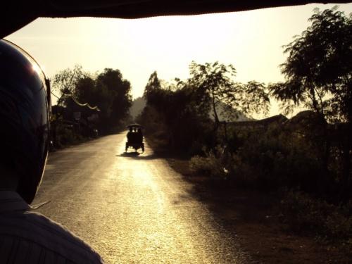 A hot road in Cambodia.