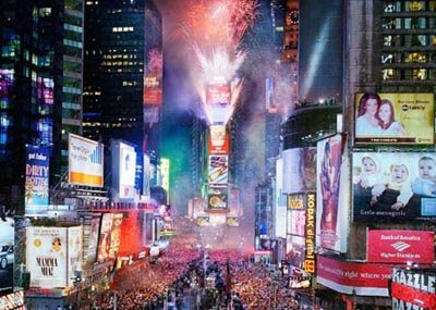 New Year's Eve in Times Square. Source: (seen on many sites)