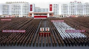 North Korean soldiers attend festivities to congratulate North Korean leader Kim Jong-il on his re-election as general secretary of the Workers' Party of Korea at the Jeonseung (Victory) Plaza in central Pyongyang, September 29, 2010. REUTERS/KCNA