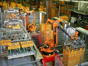 Factory automation robotics palettizing bread. Source: http://upload.wikimedia.org/wikipedia/commons/2/22/Factory_Automation_Robotics_Palettizing_Bread.jpg