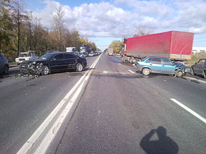 Moskovskoye highway. Consequences of traffic a...
