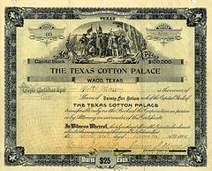 Texas Cotton Palace Stock Certificate
