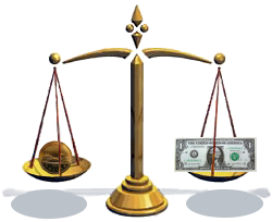 Image of a balance scale balancing the CDN$ and the USD$