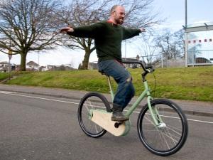 Dude on a paper bike