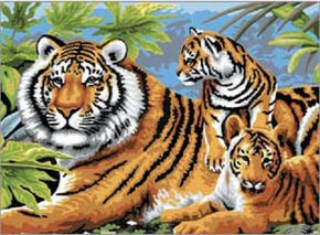 Paint by numbers (Tiger and Cubs). Source: The Zoological Society of London: https://www.zsl.org/shop/art-sets/paint-by-numbers/product.html